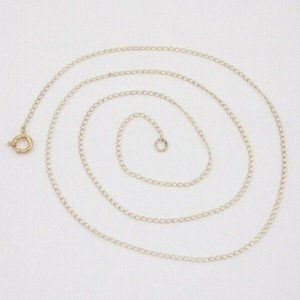 14K Gold Cable Chain Link Necklace 15″